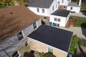 Arial view of residential rubber flat roof