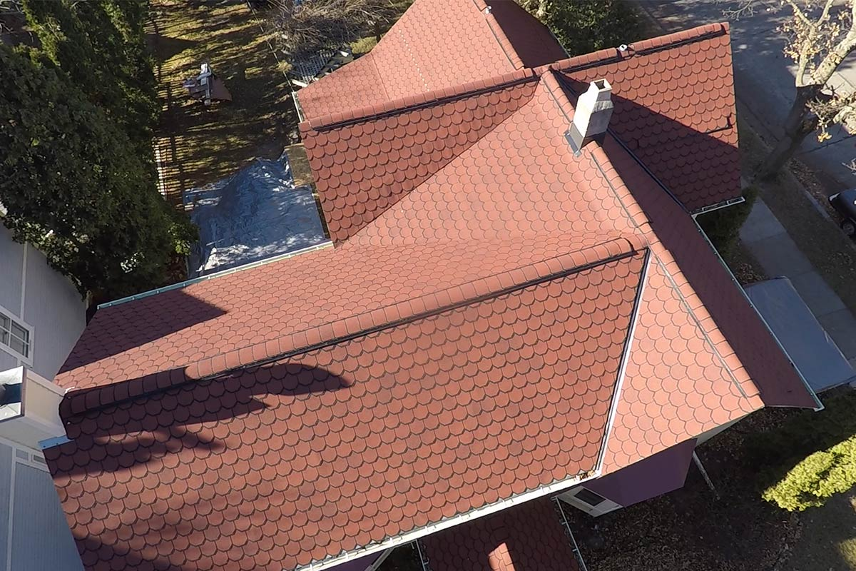 New CertainTeed Carriage House Georgian Brick Roof Birds Eye View